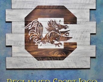 University of South Carolina Gamecocks, Whitewash, Burnt wall hanging, Shou Sugi Ban, Charred wood, Sports sigan cave, Wood Sports sign