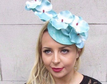 Turquoise Light Blue Orchid Flower Fascinator Hat Pillbox Races Hair Clip 3374