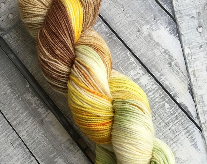 Featured listing image: Hand Dyed Yarn - Daffodils, The Secret Garden Collection, Fingering Weight,80/20 Superwash Merino,100 gram,Toad Hollow yarns,Spring