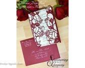 roses laser cut wedding gatefold invitation black cut paper gothic halloween classic romantic