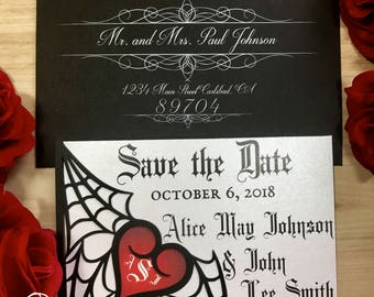 Spiderweb Save the Date card laser cut heart pocket for Gothic wedding event