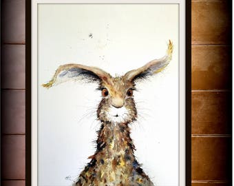 Hare Print of my Original Watercolour LITTLE HARE 5 Painting by Nancy Antoni A4 A3 hare with attitude