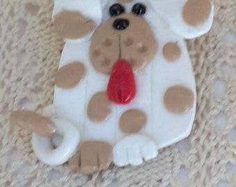 Polymer clay dog pin, by 3LittleCraftersAreWe