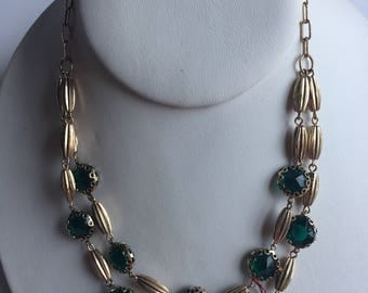 Vintage Necklace Golden Green Stone