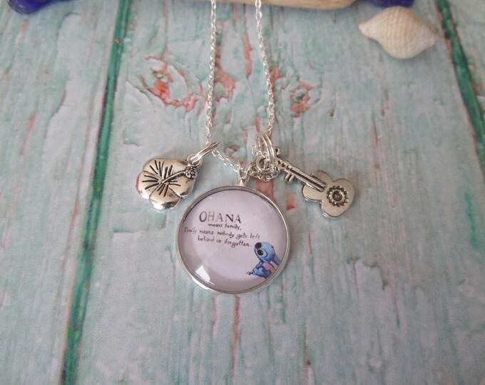Ohana necklace, ohana means family, ohana gift, hawaii necklace, aloha gift, guitar necklace, hibiscus flower, family gift, sandykissesuk