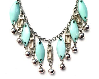 Turquoise and Silver Fringe Statement Necklace