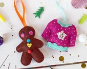 Gingerbread and Jumper Felt decoration set, felt ornaments, christmas decorations, felt, craft kits, christmas crafting, stocking fillers