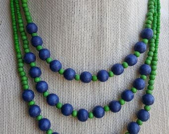 Three Strand Green and Blue wooden bead necklace