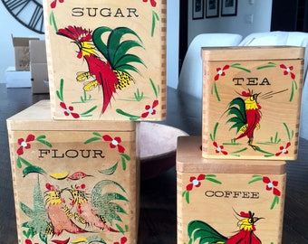 Vintage WOOD ROOSTER CANISTER Set, Set of 4 Kitchen Canisters, Made in Japan, Flour Sugar Coffee Tea Canister Set, Hand Painted Roosters