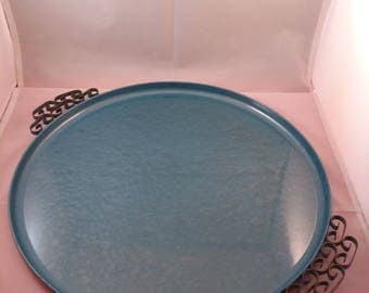 Blue Moire Glaze Kyes Round Serving Tray