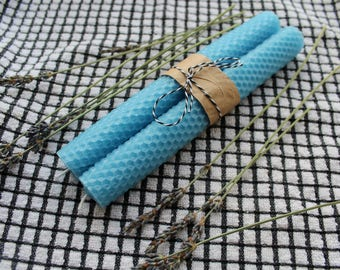 Pure Beeswax Taper Candles in Light Blue color with Honeycomb Pattern