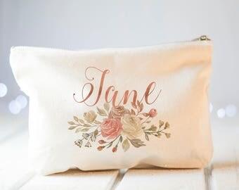 Bridesmaid Gift, Rose gold Bridesmaid Makeup Bag, Bridesmaids' Gifts set, wedding cosmetic case, bridal makeup bag, personalized bridesmaid