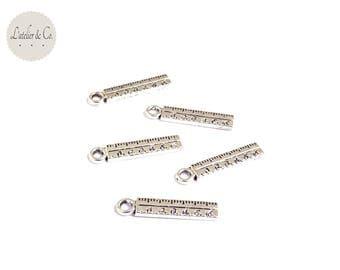 10 charms rule 24x5mm school silver BLQA-28