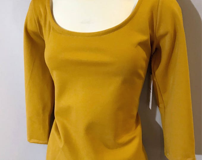 Mustard Yellow Scoop Neck Top / Made in Canada