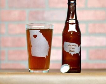 Custom Beer Glass - Custom Pint Glass - Beer Glass - Pint Glass - Beer Glasses - Pint Glasses - State Pint Glass - State Beer Glass