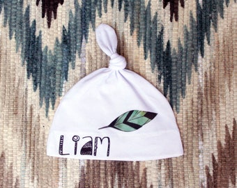 Custom Baby Hat, Personalized Hat, Customized Baby Hat, Boho Baby Hat, Top Knot Hat / Newborn Hospital Hat / Baby Hat With Name / boy hat