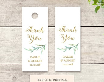 "Small Favour Tags, Thank You Tag Printable Template, 2.5x1"" Wedding Favor, Wedding Thank You Tags Gift Tags, Greenery, Edit in WORD or PAGES"