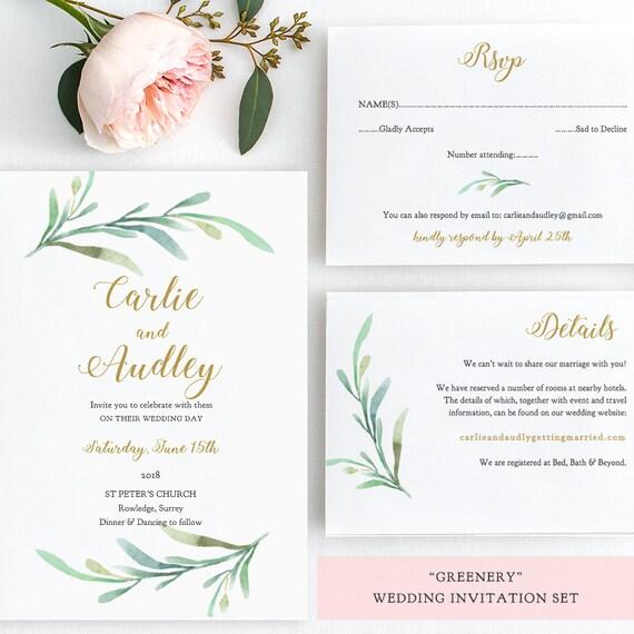 Printable Wedding Invitation Sets: Wedding Invitation Template Set Printable Wedding Byron