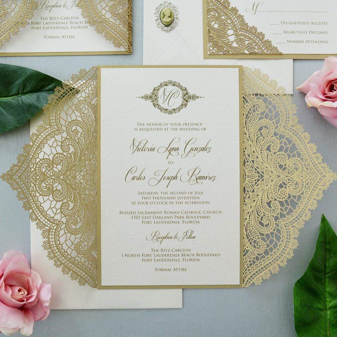 GOLD CHANTILLY LACE Laser Cut Wrap Invitation