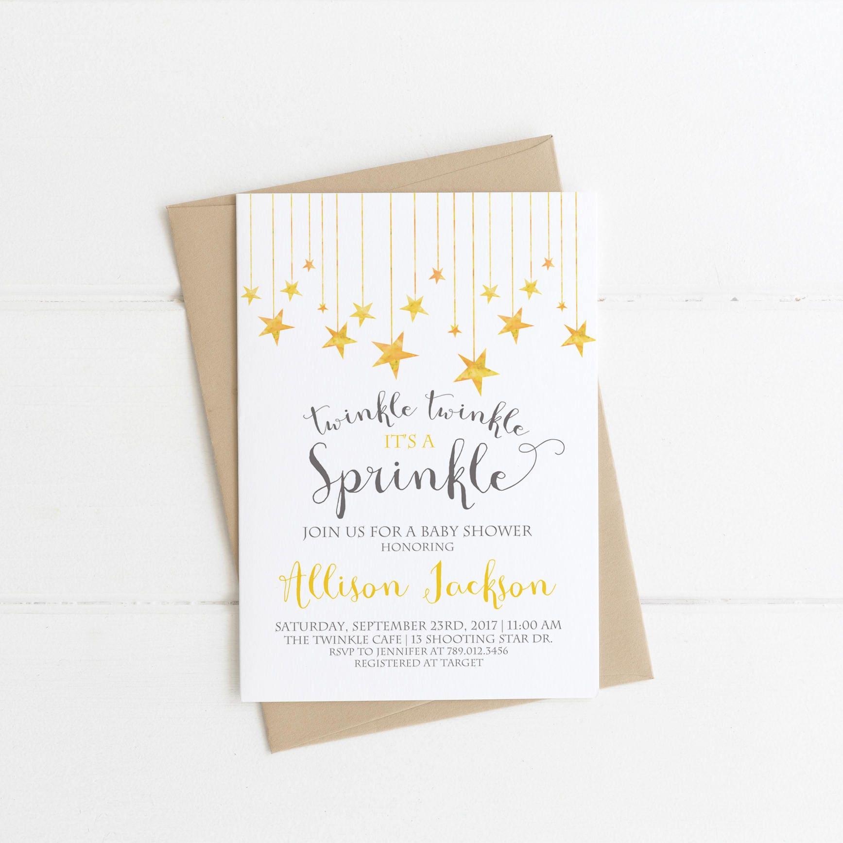 Twinkle Twinkle it s a Sprinkle Baby Shower Invitation