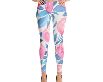 Leggings, Blue Pink Floral Leggings, Capri Leggings, Ankle Length Leggings, Yoga Pants, Women Sizes XS, Small, Medium, Large, XL