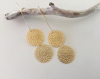 Gold Earrings, Mandala pattern,  Long earrings, Boho, Modern, Gold filled Earwires, Drop earrings, thehappylittlebeader