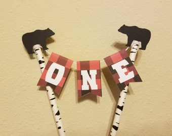 Lumberjack Bunting Cake Topper... Wild One... Baby Boy... First Birthday... Any Age...
