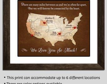 Distance Grandparents Gift  Family Map Grandparents Long Distance Gift Grandparents Christmas Gift - Grandpa Gift - Grandma Gift