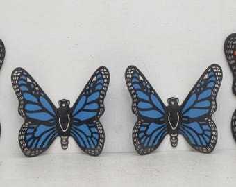 Set of 4 Vintage Butterfly Wall Hangings Outdoor Nursery Hippie; Blue, Red, and Yellow Garden; FREE SHIPPING U.S.A.