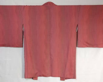 Women's Silk Haori kimono jacket - pink mauve wavy stripe with woven pattern - unused