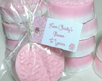 Baby Girl Shower Favors, 50 Snowflake Party Decorations, Personalized Party  Favors, Winter Wedding