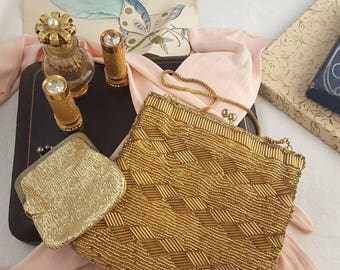 Vintage Gold Beaded Evening Bag and Coin Purse