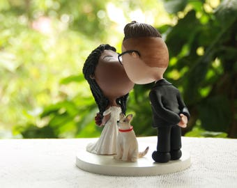 Bride kissing the groom. Pet dog. Wedding cake topper. Handmade. Fully customizable. Unique keepsake