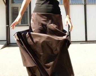 Maxi Skirt - Brown Long Skirt - Vegan Leather Skirt - Full Brown Skirt - Wide Faux Leather Skirt - Gift For Her - Boho Style - Boho Skirt