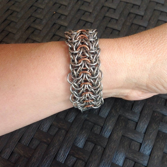 Tiffany Weave cuff bracelet in stainless steel and copper