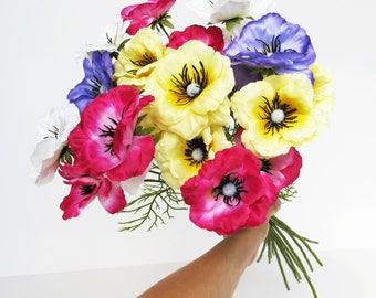 12 Poppies Branches Artificial Silk Poppy Anemones Bouquet Branch Bush Flowers Wedding Bouquets Decoration Decor Leaves Accessory Floral