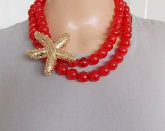 Chunky Red Bead and Gold Starfish Statement Necklace