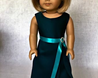 18 inch doll evening dress -  18 inch doll clothes - teal evening gown - fits the  American Girl and similar 18 inch dolls