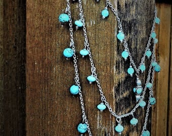 Turquoise and chains necklace