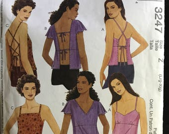 McCalls 3247 - Sleeveless or Short Sleeved Tops with Open Backs and Strap Variations - Size L