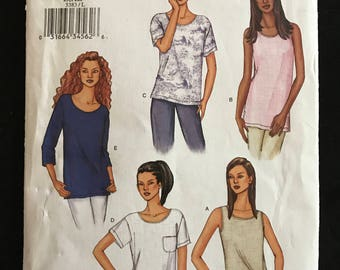 Butterick 3383 - Fast and Easy, Loose Fitting Pullover Top with Three Quarter Length, Short or Sleeveless Option - Size L XL