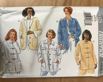 Butterick 3323 - Very Loose Fitting Below Hip Jacket with Button or Frog Closure and Pointed, Notched, or Stand Up Collar - Size 14 16 18