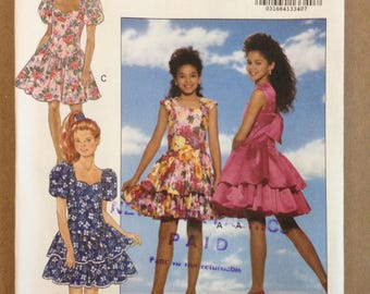 Butterick 6175 Girls Party Skirt with Sweetheard Neckline, Basque Waist and Tiered Skirt Option - Size 7 8 10