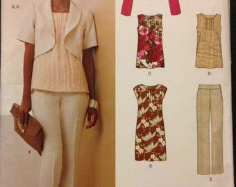 New Look 6080 Work Wardrobe Separates Unlined Bolero Pin Tuck Top or Dress and Straight Leg Pants with Clutch - Size 6-16