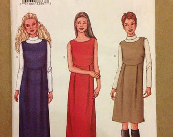 Butterick 3245 - Fast & Easy Sleeveless Dress or Jumper with Slightly Raised Waist - Size 6 8 10