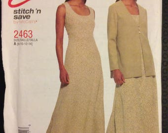 Stitch 'N Save 2463 Easy Scoop Neck Dress with Princess Seams and Unlined Collarless Jacket - Size 8 10 12 14