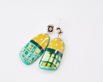 Original dangle earrings polymer clay dangle multicolored madras geometry green and yellow ochre
