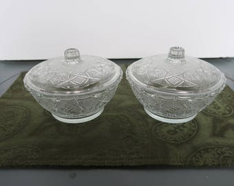 Pressed Glass Candy Dishes, KIG Malaysia Stars Pattern, Vintage, Clear Glass, Stars Motif, Set of 2