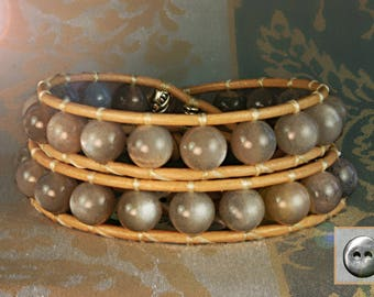 Leather Wrap Bracelet, Moonstone, Natural Grey Moonstone with peach hues, 8mm Round Stones, Wraps 2x, Natural Nude Leather, Pewter Button