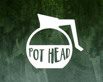 Pot Head Mug Decal | Coffee Addict Car Decal | Pot Car Decal | Coffee Lover's Decal | Coffee Sticker | Coffee Decal | Coffee Mug Decal